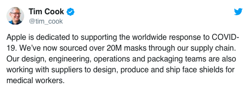 Apple donating total of 20 million masks and designed custom face shields 98
