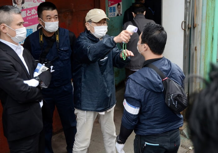 Japanese Suspect insisted temperature check on Police trying to raid their place 98