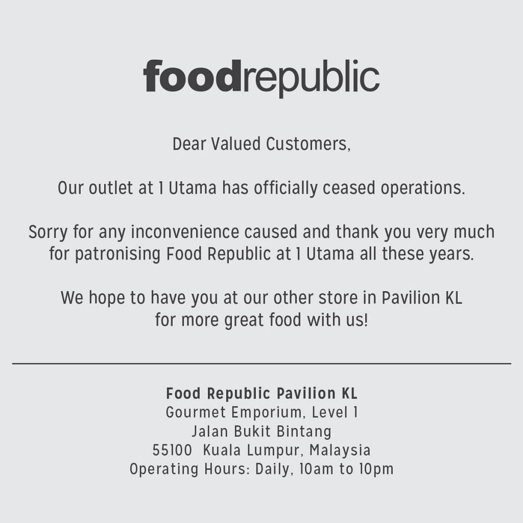 Food Republic 1 Utama closure announcement. News Asia Today