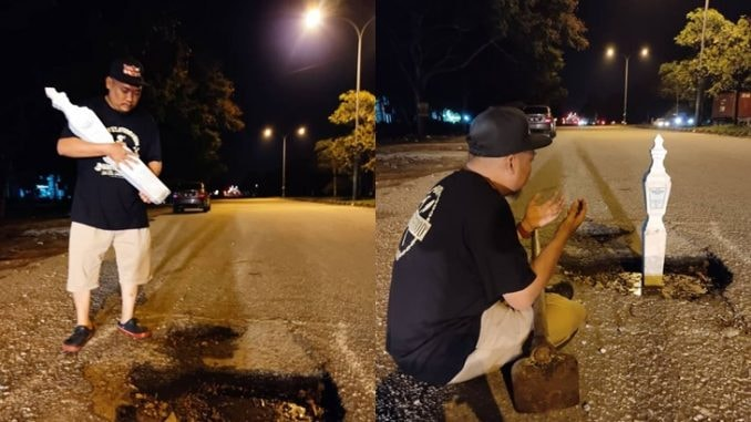 Malaysians are getting creative in creating memes to protest about potholes 66