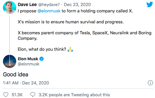 X would be the name if Elon Musk combines SpaceX, Tesla, Neuralink, & Boring 62