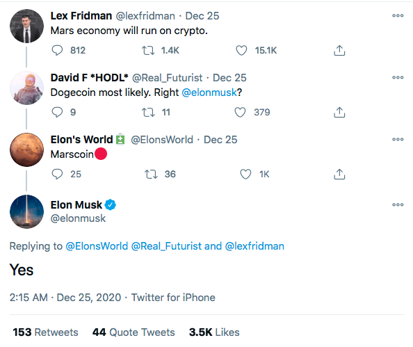 Elon Musk agrees Mars economy will run on cryptocurrency, like 'Marscoin' 62