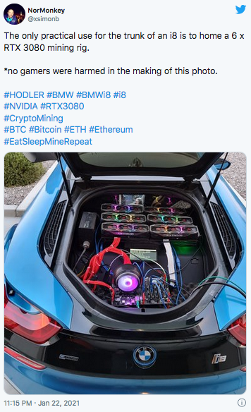 Man builds expensive RTX3080 mining rig that sprints to 100km/h in 4.5s just to upset gamers 75