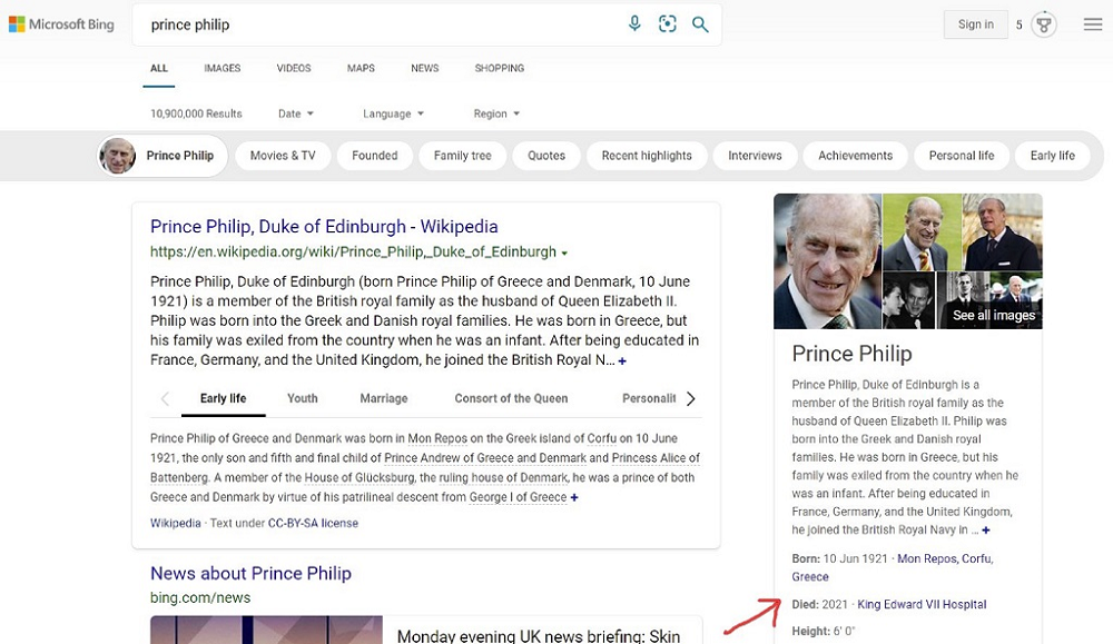 Bing mistakenly claims Prince Philip Is Dead; news goes viral 55