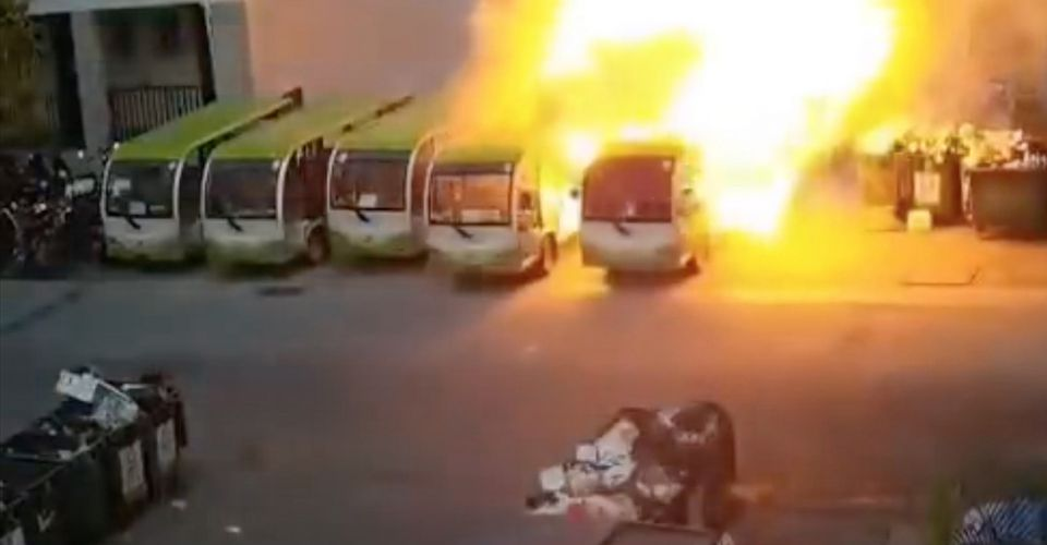 An electric bus in China caught fire and set the whole row of buses ablaze 68