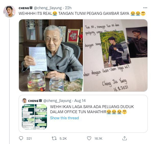 Malaysian fighting fish seller shocked as former Prime Minister, Tun M, bought fish from him 75